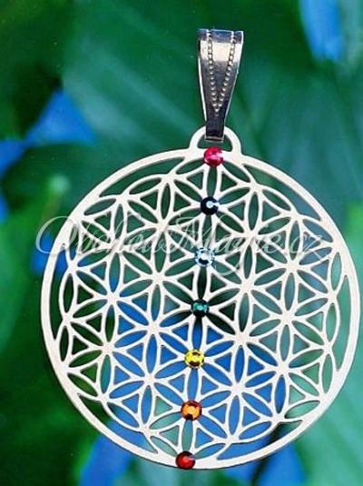 Amulety zdraví -KVĚT ŽIVOTA, čakrový přívěsek, nerez ocel, krystaly Swarovski