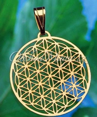 Amulety zdraví -KVĚT ŽIVOTA, přívěsek, nerez ocel, pozlacený