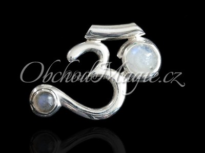 Šperky ochrana-Óm s měsíčním kamenem přívěsek Ag925/1000