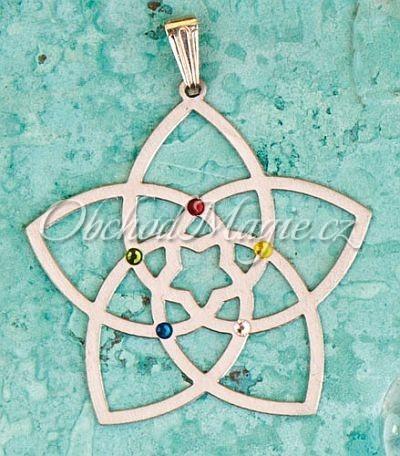 Amulety láska -KVĚT VENUŠE,  přívěsek,  s 5 krystaly Swarovski