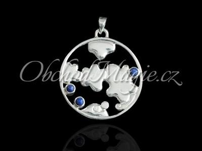 Šperky ostatní-VZDUCH, element, přívěsek, stříbro, s lapisy