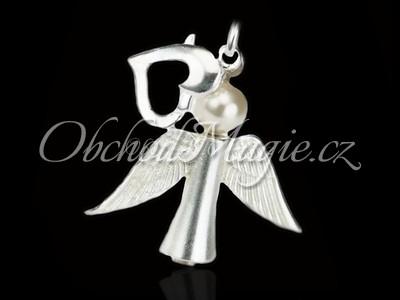 Andělé-Anděl energie s perlou Swarovski přívěsek