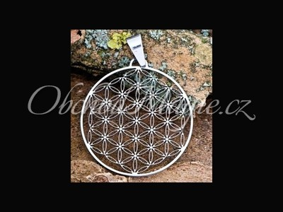 Amulety zdraví -KVĚT ŽIVOTA, přívěsek, leštěná ocel, 35 mm