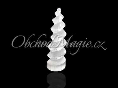 Mýdla a srdíčka-SELENIT, spirální pyramida, 10 cm