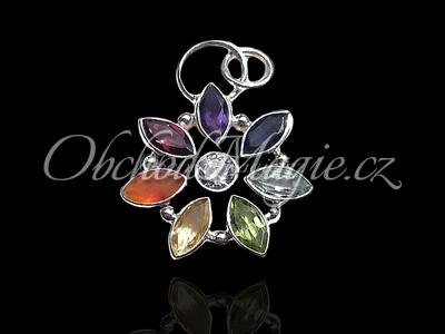 Stříbrné čakrové šperky-Čakrový květ s drahými kameny Ag 925/1000