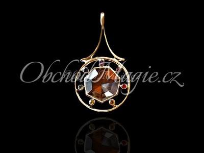 Stříbrné čakrové šperky-ČAKRA PŘÍVĚSEK S KŘIŠŤÁLEM, stříbro, drahé kameny