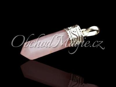Šperky z kamenů-RŮŽENÍN, krystal, přívěsek, galvanika