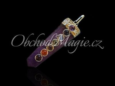 Čakrové šperky-ČAKROVÝ PŘÍVĚSEK, s drahými kameny, AMETYST
