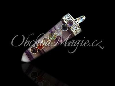Čakrové šperky-ČAKROVÝ PŘÍVĚSEK, s drahými kameny, FLUORIT
