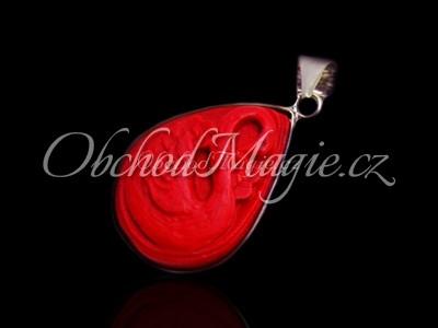 Šperky z kamenů-KAPKA, přívěsek, korál červený