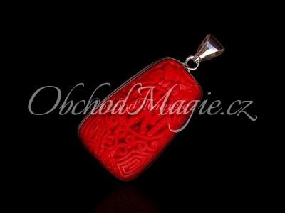Šperky z kamenů-LICHOBĚŽNÍK, přívěsek, korál červený