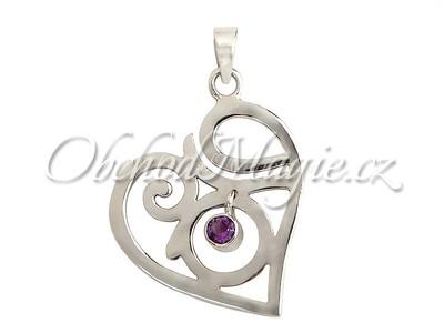 Šperky láska-Láska přívěsek s ametystem AG 925/1000