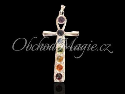 Čakrové šperky-Čakrový přívěsek Anch, postříbřený, s kameny