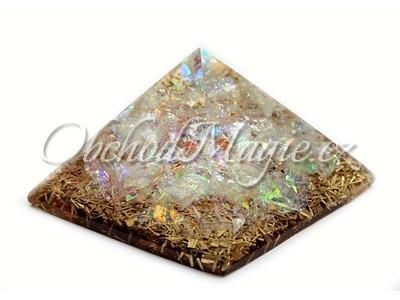 Orgonit-Orgonit pyramida s měsíčním kamenem, 4 cm