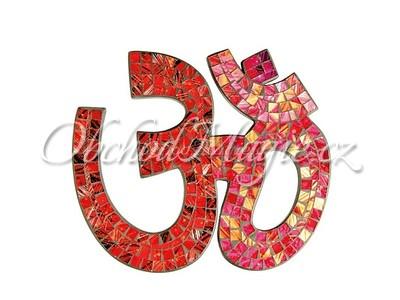 Nástěnné dekorace-ÓM skleněná mozaika, nástěnný, červeno-zlatý