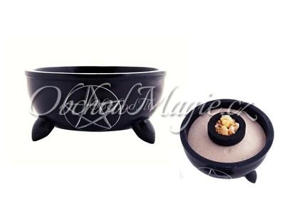 Vykuřovací misky-Pentagram, miska, černý mastek, střední 10 cm