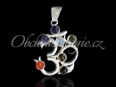 Čakrové šperky-Čakrový přívěsek ÓM, postříbřený, s kameny