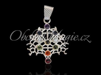 Amulety zdraví -Čakrový přívěsek Strom života, postříbřený, s kameny