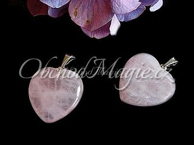 Šperky z kamenů-Růženín srdíčko, přívěsek