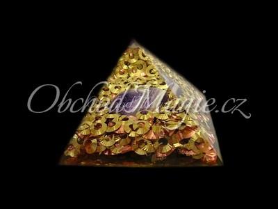 Orgonit-Orgonit pyramida s tromlovaným kamenem, 9 cm