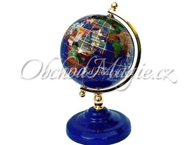 Dárky a dekorace-Globus Lapis Lazuli a polodrahokamy, 11 cm