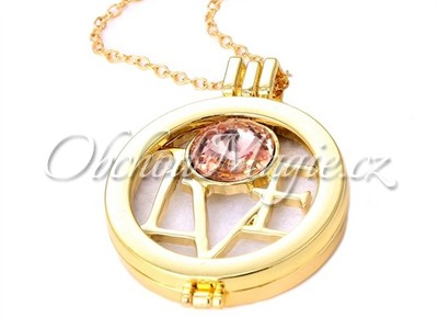Aroma náhrdelníky-Aromaterapie medailon náhrdelník Love Gold