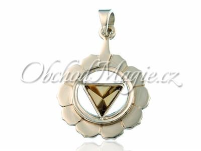 Stříbrné čakrové šperky-Přívěsek Solar plexus čakra Manipura s citrínem