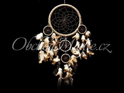Lapače snů-Lapač snů hnědý s peříčky 65cm