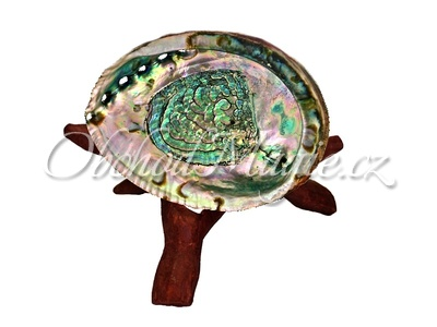 Mušle k vykuřování-Abalone vykuřovací mušle na stojánku, velká