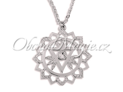 Swarovksi čakrové šperky-Přívěsek pátá čakra Vishuddha s řetízkem