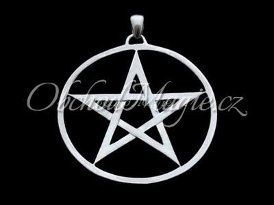Šperky ochrana-Pentagram velký přívěsek Ag 925/1000, 5cm
