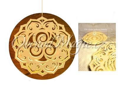 Větrné a světelné mobily-Triskel světelná dekorace ze dřeva Ø 30cm