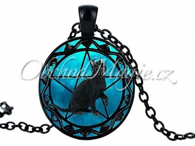 Amulety ochrana -Černá kočka s pentagramem ochranný amulet