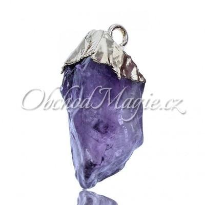 Šperky z kamenů-Přívěsek ametyst přírodní krystal