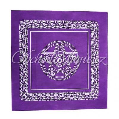 Oltář-Oltářní a vykládací ubrus s PENTAGRAMEM fialový