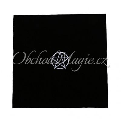 Oltář-Oltářní a vykládací ubrus s PENTAGRAMEM černý samet 49x49cm