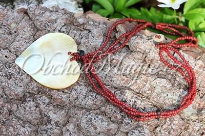 Šperky z kamenů-Náhrdelník - Srdce, perleť, červený