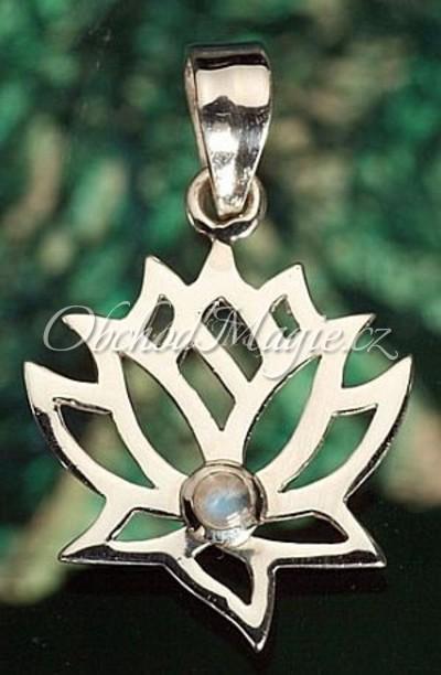 Šperky hojnost-Lotos s měsíčním kamenem přívěsek Ag 925/1000