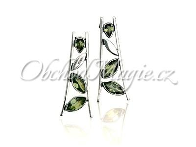 Šperky ochrana-LISTY S OLIVÍNY, náušnice, stříbro 925/1000