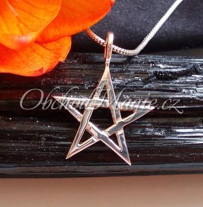 Šperky ochrana-Pentagram přívěsek Ag925/1000, 20mm