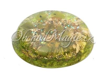 Orgonit-ORGONIT, kapesní placka, OLIVÍNY, Ø 5,8 cm